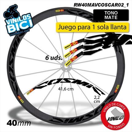 Amarillo Pegatinas Llanta para Bicicleta de Carretera 40mm Modelo Mavic Cosmic Carbon Stickers Bike