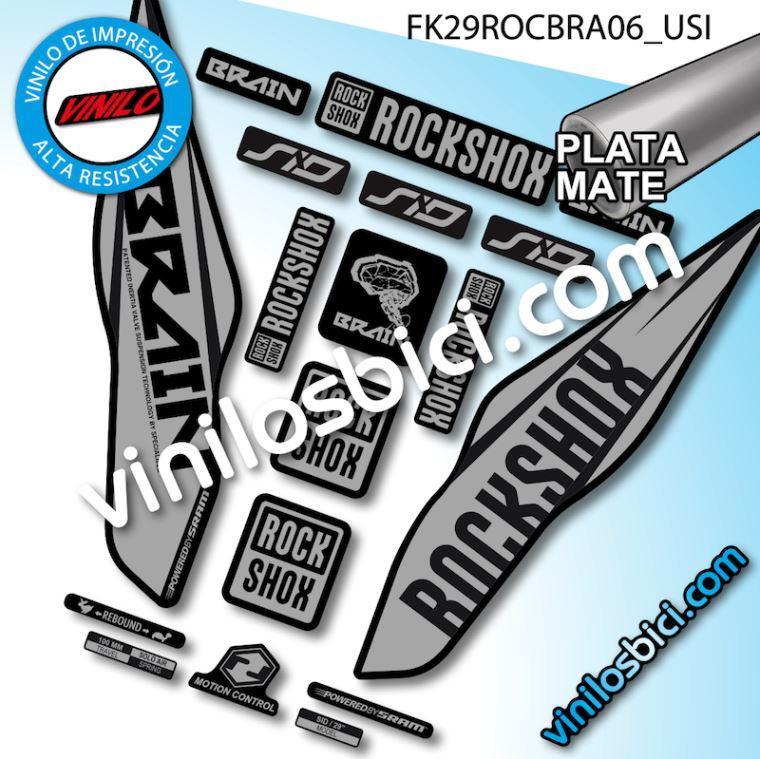 Pegatinas Horquilla para Bicicleta Modelo Bike Rock Shox SID Specialized Brain Plata 29