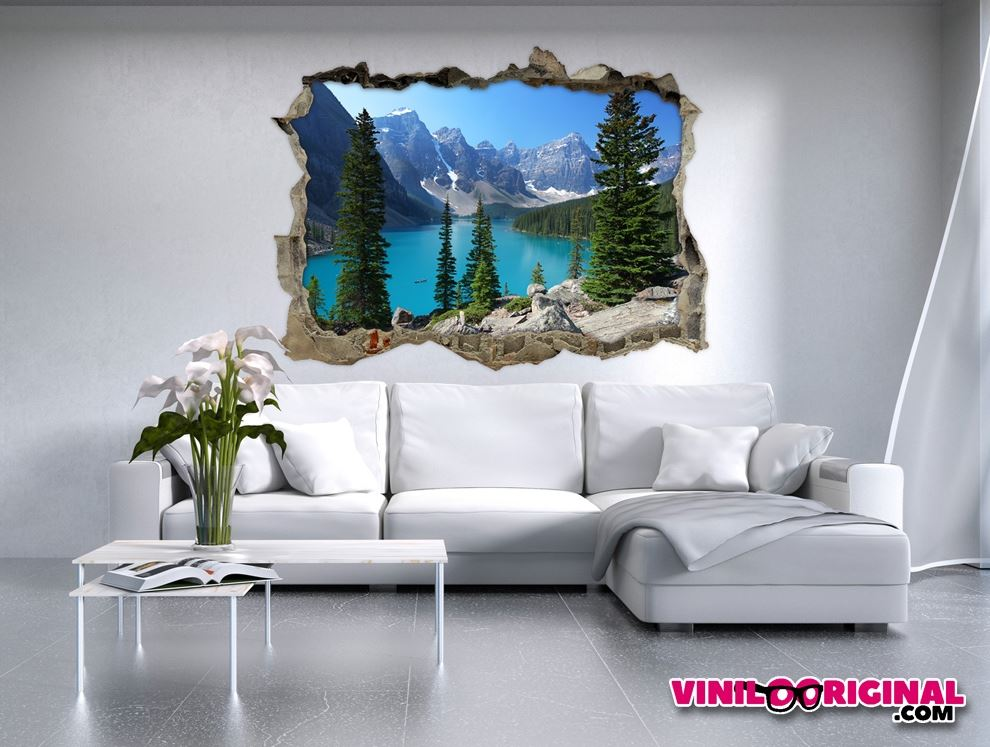Vinilo efecto pared rota lago moraine Vinilo de pared